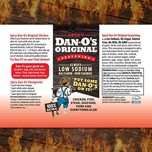 Dan-O's Seasoning Starter Pack - All Natural, Low Sodium, No Sugar, No MSG - Two (2) 3.5 oz. Bottles
