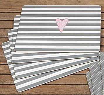 Tischsets Abwaschbar tischsets abwaschbar lay gestreift grau 40x30 cm amazon de
