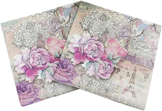 4 Single Paper Napkins for Decoupage Paris Pink Roses Eiffel Tower