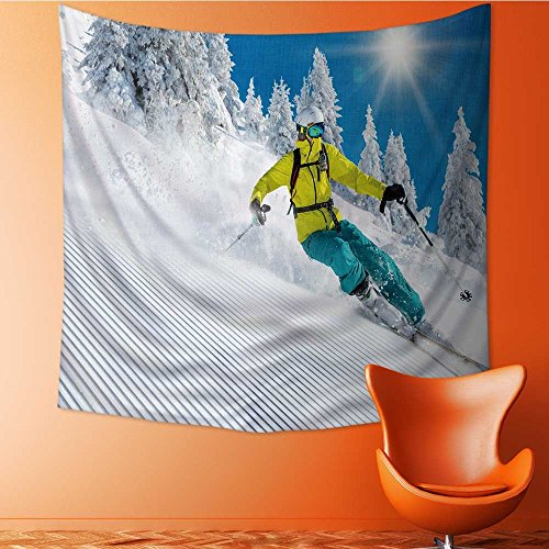 Apestry Home Decor Freeride in Fresh Powder Snow Skiing Wall Hanging for Bedroom Living Room Dorm63W x 63L Inch
