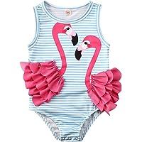 waterluo Toddler Kids Baby Girls One Piece Swimsuit Floral Tassel Striped Beachwear Flamingo Bikini Swimwear Bathing…