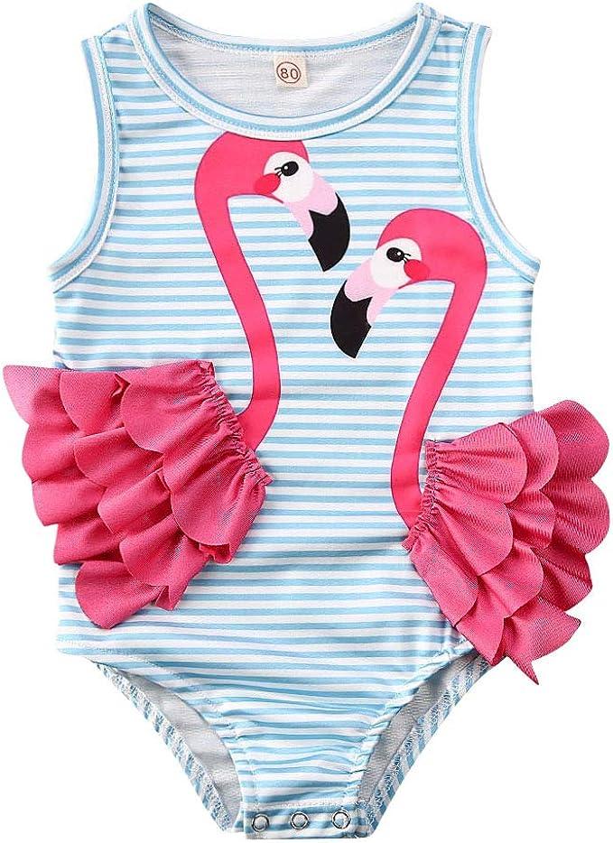 Baby Kids Girls Summer Ruffle Striped Print One Piece Swimsuit Swimwear