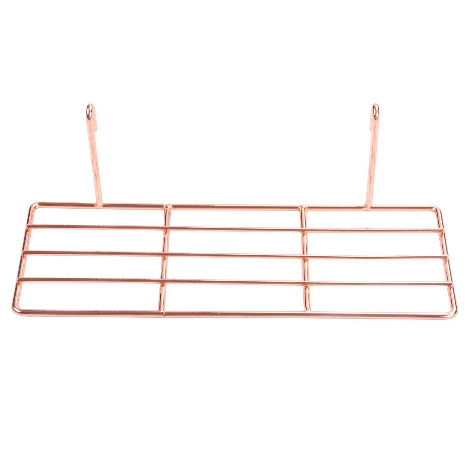 Nugoo Straight Shelf for Wall Grid Panel Decorative Wire Storage Organizer Rack for Flower Pot and Wall Decor Rose Gold Hanging Display Grid Wall Shelf Small Size
