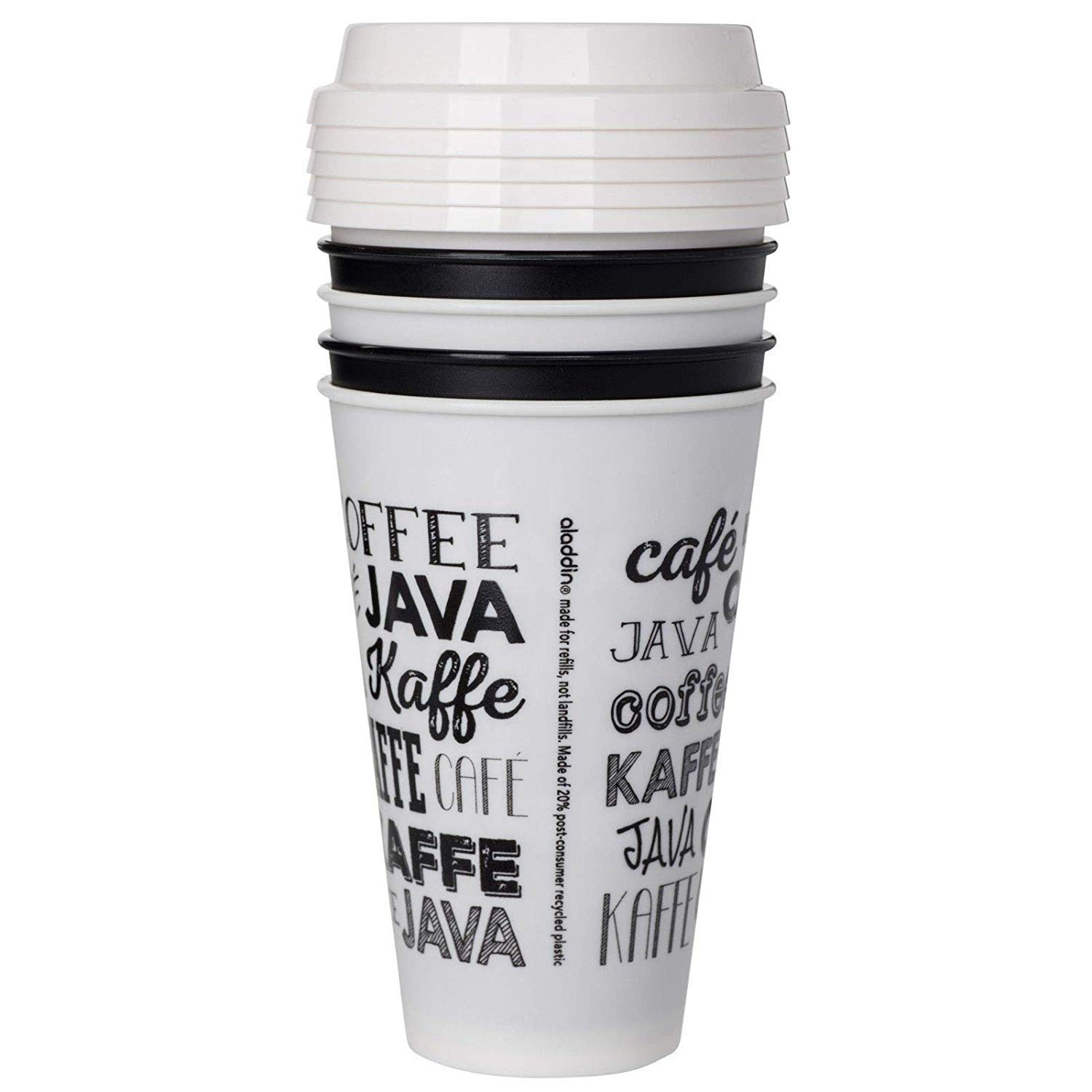 Aladdin Reusable Travel To Go Cups Variety Pack Including 15 Coffee Cups and a Stress Squish