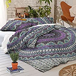 Handicraftofpinkcity Floral Duvet Cover Doona Mandala Bohemian Ethnic Queen Quilt Cover With 2 pillow Cover Blanket