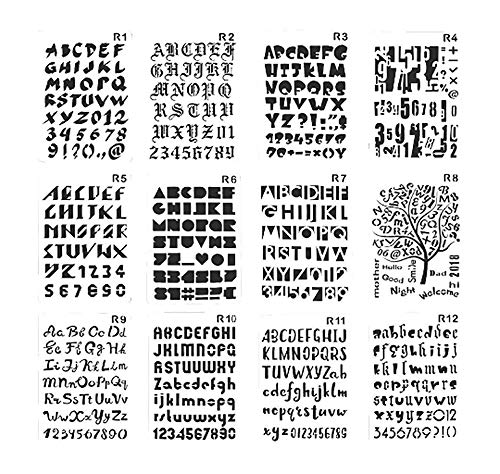Bullet Journal Stencil Set - 10.3 X 6.9 Inch - 12 Pack Letters Number Alphabet Stencils Template Plastic Planner for Notebook/Diary/Scrapbook/Journaling/Graffiti/Card/Craft Projects/DIY Drawing
