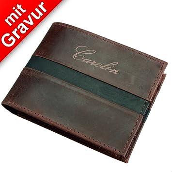 d8730223f5184 Alassio Geldbörse im Querformat Wallet Leder braun MIT Gravur (z.B. Namen)  - Portmonee