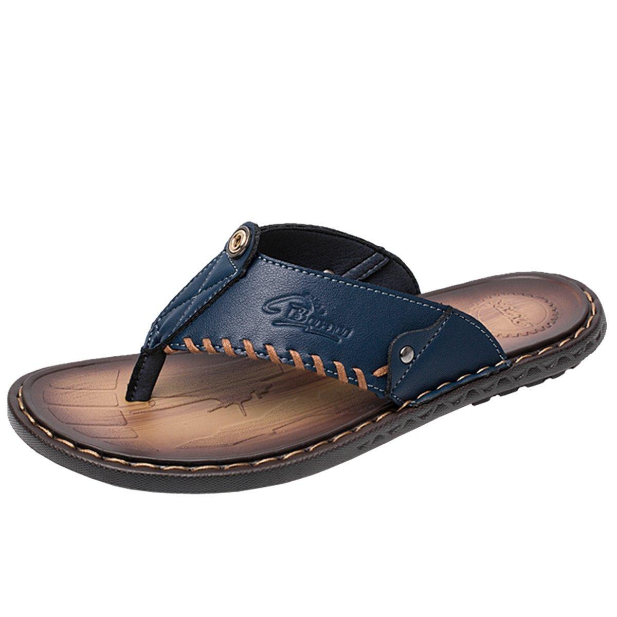Gracosy Flip Flops, Unisex Zehentrenner Flache Hausschuhe Pantoletten Sommer Schuhe Slippers Weich Anti-Rutsch T-Strap Sandalen fuuml;r Herren Damenr  40 EU|Blau-d