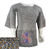 Souvenir India Medieval Haubergeon Armour Chainmail Shirt Medium 10 mm Aluminum Flat Riveted With Washer