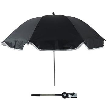 Gosear Sombrilla Silla Paseo Universal, Cochecito Paraguas sombrilla Parasol para Sillita de bebé protección UV, 360 Grados de dirección Ajustable (Negro): ...