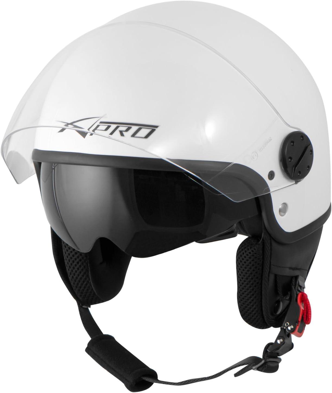 A-Pro Motorradhelm Motorrad Roller Jet Helm Innensonnenblende Viser Blau XS