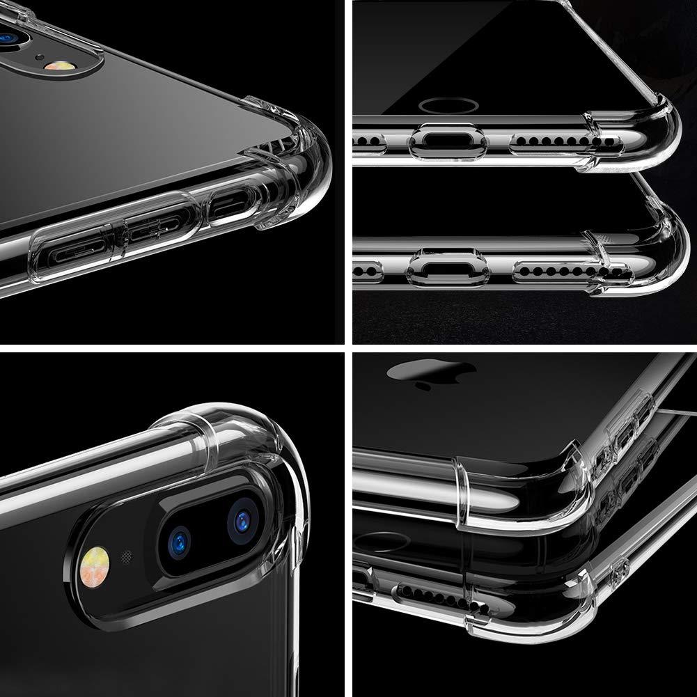 IPhone 7 Plus Case, IPhone 8 Plus Case - Glamore Shock-Absorption Bumper Cover, Anti-Scratch Clear Back, HD Clear, 2 Pack