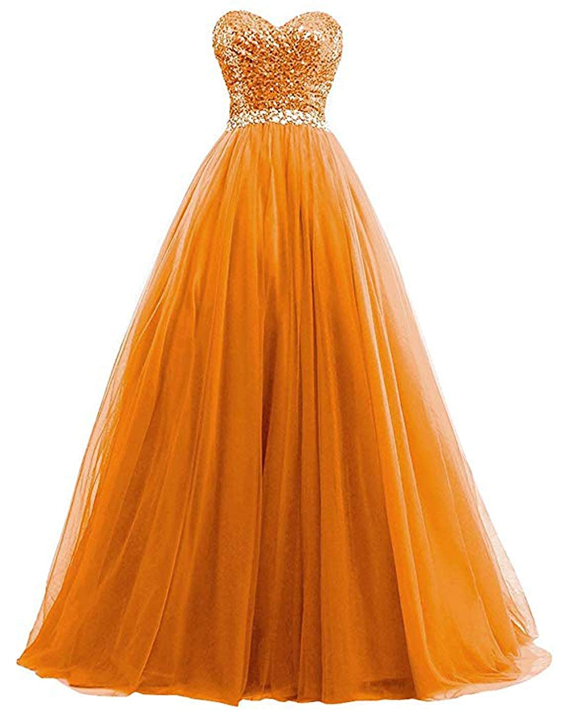orange olise bridal Sexy Sweetheart Women's A Line Long Prom Dresses Sequin Party Formal Dresses Ball Gowns