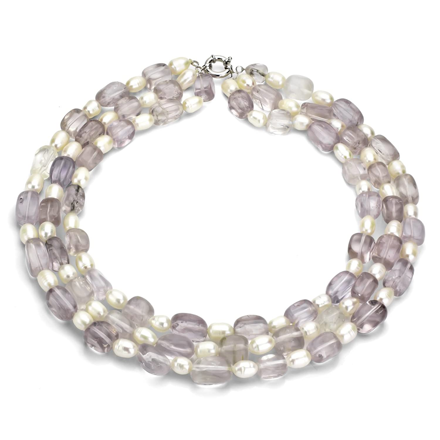 """Sterling Silver 7-7.5mm White Freshwater Cultured Pearl 9x16mm Simulated Amethyst 3row Necklace, 18"""""""