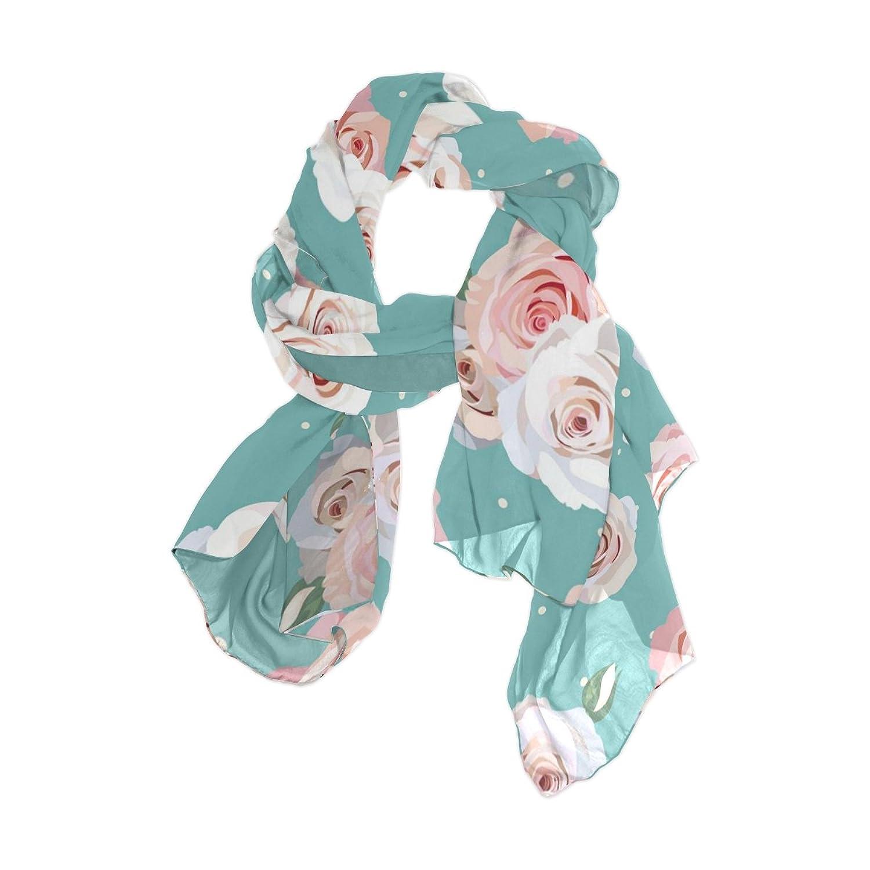 MRMIAN Blue Floral Print Long Lightweight Silk Chiffon Scarf Wrap Shawl Stole