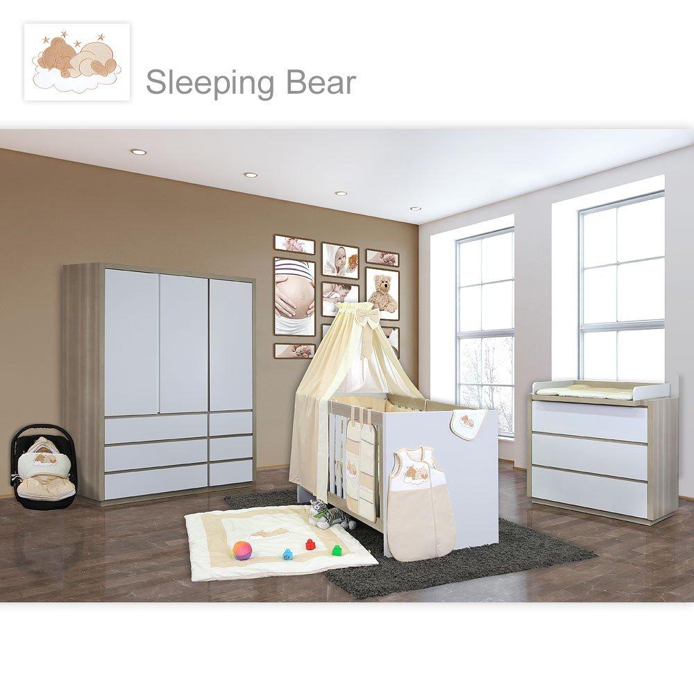 Babyzimmer Atlanta in Akaziengrau 10 tlg. mit 3 türigem Kl. + Sleeping Bear Beige