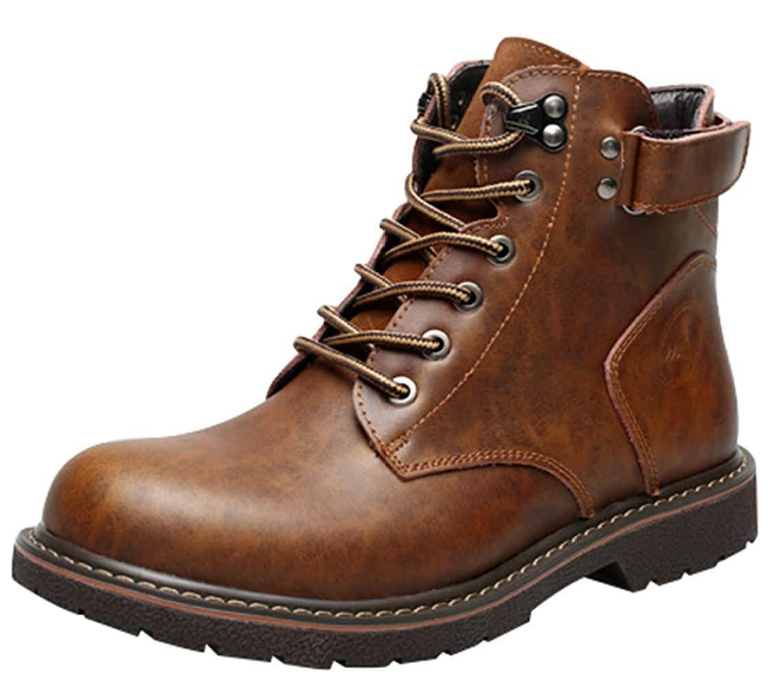 Herren Freizeitschuhe Mode Plattform Martin Stiefel Ankle Stiefel (Farbe   Braun, Größe   42EU)
