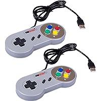EVORETRO 2x USB Controllers NES-SNES Classic Emulator Gamepads w/ 10 Cords   Raspberry Pi 3   Plug-and-Play TV, PC…