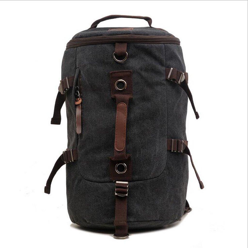 Black Canvas Backpack Shoulder Bag Handbag Retro Casual Neutral Multi-Pocket Large Capacity (2 colors) Hiking Hiking Bag Camping Outdoor,Black