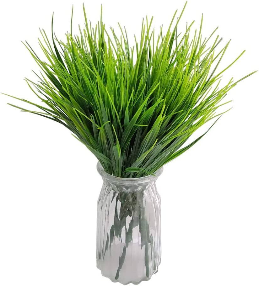 10 Pcs Artificial Wheat Grass Bushes Plastic Wheat Grass Greenery Shrubs Plant for Home Wedding Office Party Decoration, Fake Grass Artificial Flowers Accessories Grass for Flowers in Vase