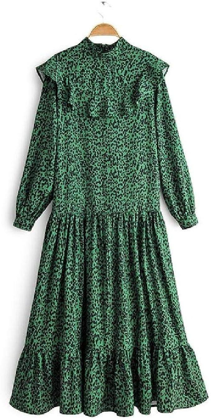 nobrand Frauen Leopardenmuster grün langes Kleid Rüschen zurück
