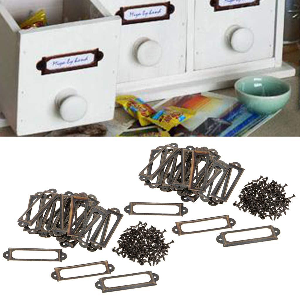 40 Sets Metal Label Holder Filing Cabinet Label Holders Name Tag Card Holder Frames with Screws