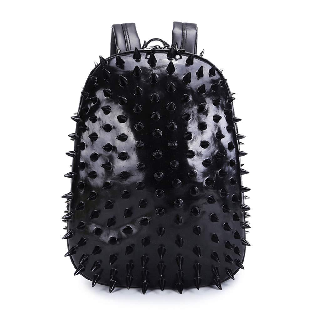 3次元パーソナリティファッションユニセックスPuのバックパック大容量旅行学生のコンピュータバッグ  Black B07GVHVXV2