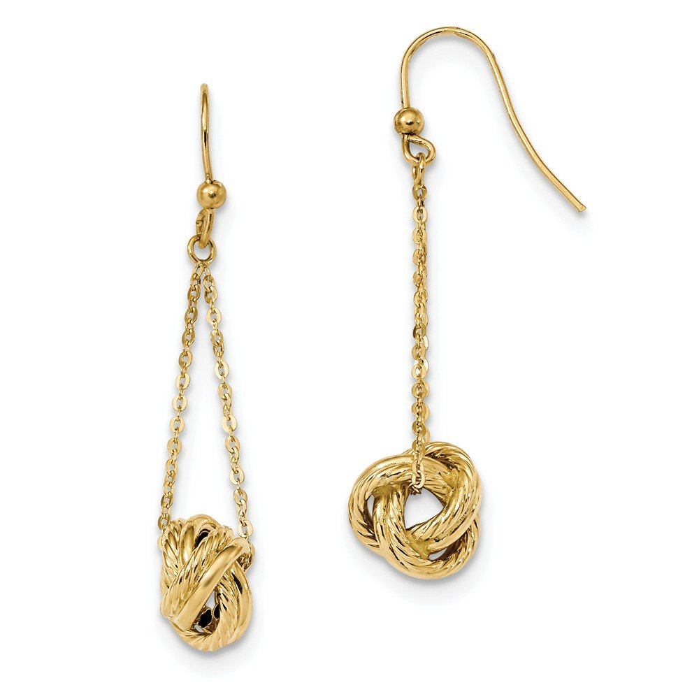 14k Gold Polished Love Knot Dangle Earrings