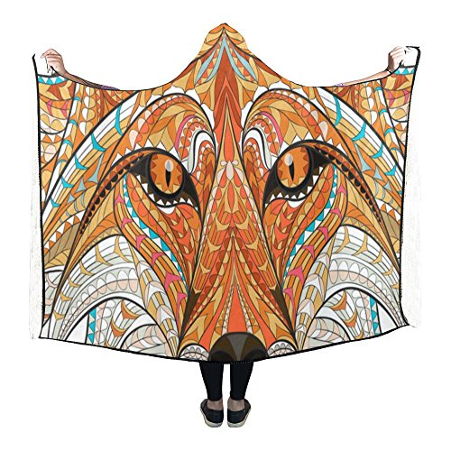 - Blanket Indoor Pilling Polar Fleece Hooded Blanket, Native Americans Indian Azte Art Animal Fox Stylish Wearable Hood blankets 80 x 53 inches