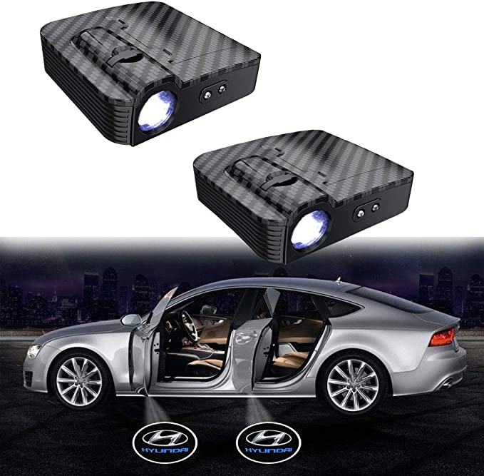 Image of MIVISO Proyector inalámbrico sin imán actualizado Paso de puerta de coche Cortesía Luces de bienvenida para luces LED de Ghost Shadow - Aceptar logotipo personalizado