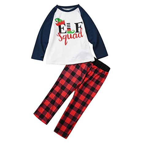 cfd7a3d0e Amazon.com  Family Matching Red Plaid Letter Holiday Winter ELF ...