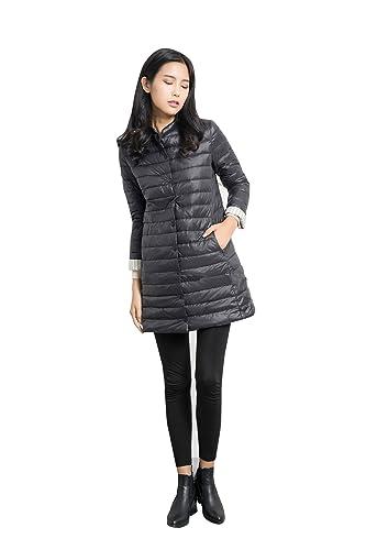 BOMOVO brigo de plumas para mujer En el abrigo largo (Negro/gris/azul/marrón)