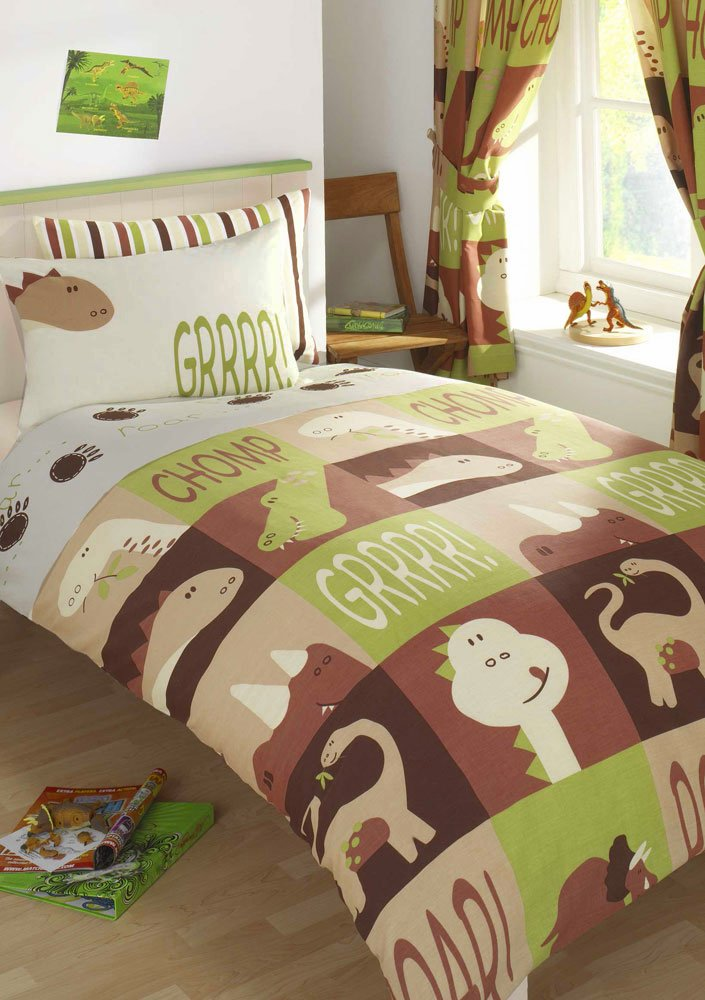 Boys dinosaur single duvet cover bed set amazon co uk kitchen home