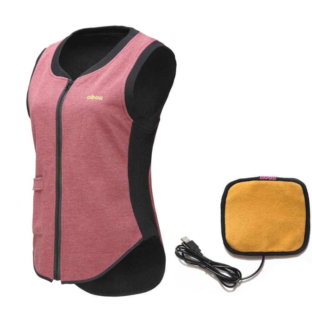 DZX Elektrische Warme Kleidung Heizung Weste, Mit USB-Kabel-für Outdoor-Reisen Camping Bike Skifahren (Unisex),WomanROT-M