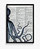 Blue Octopus Dictionary Art Print 9 x 12