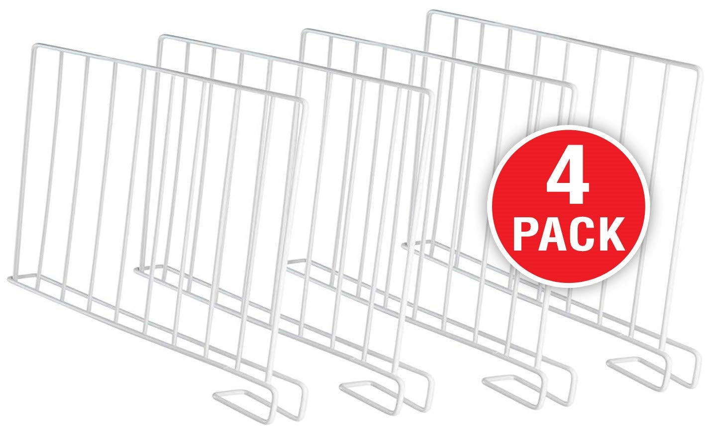 StorageMaid - Set of 4 - Wire Shelf Dividers for Bedroom Closets, Kitchen Cabinets, Wood Shelves, Bookcases and Libraries - Versatile, Multi-Functional Organizers for Home and Office by StorageMaid