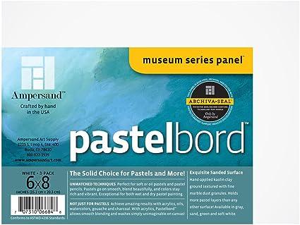 Gray-1//8 Inch Depth 3 Museum Series Pastelbord Ampersand Art Supply Pastel Painting Panel