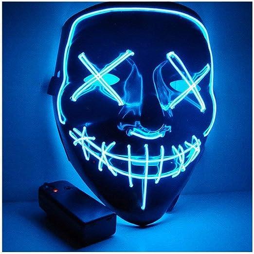 Image ofKaliwa LED Máscaras Halloween, Halloween Mascaras, Craneo Esqueleto Mascaras, para Navidad /Halloween /Cosplay /Grimace Festival /Fiesta Show /Mascarada, Alimentado por batería (no Incluido) (Azul)