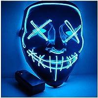 LED Halloween Masques, Lumière Masques d'Émetteurs d'horreur Halloween Mode pour Noël Cosplay Grimace Festival Party Show, Alimenté par Batterie(Bleu)