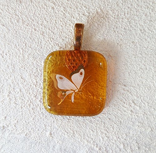 22kt Gold Butterfly on Transparent Amber Fused Glass Jewelry Pendant Necklace (Butterfly Fused Glass)