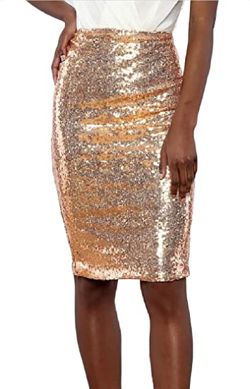 5cffaa5a98 Cromoncent Womens Sequins Pencil High Rise Mini Slim Fit Skirts at Amazon  Women's Clothing store: