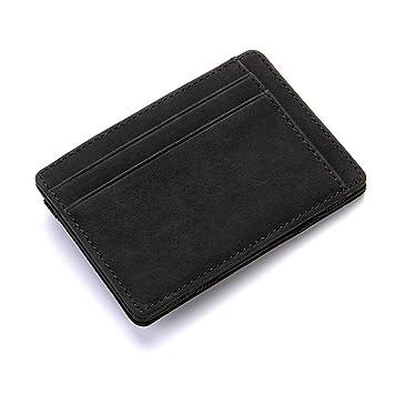 7ceb28642 LMSHM Billetera Monedero Ultra Fino Diseño para Hombre De Cuero De La PU  Mini Carteras Estuche para Tarjetas De Crédito De Plástico Titular De La  Caja ...