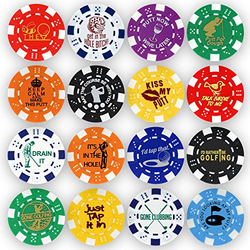 Collection Golf Balls (Golf Ball Marker Poker Chip Collection, 11.5 gram Chips (16-Pack))