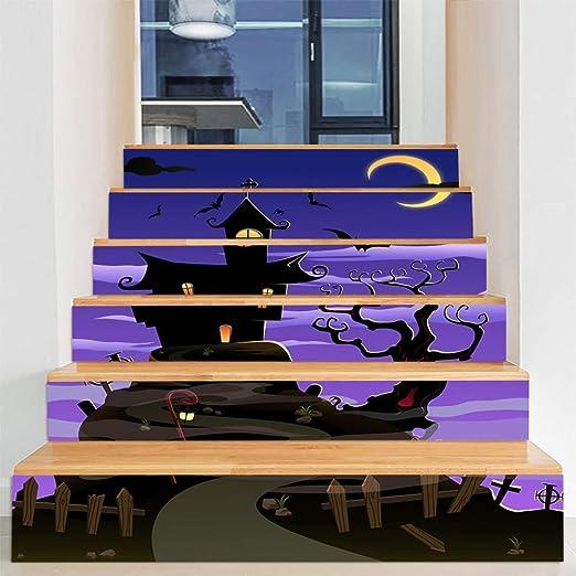 Decoraciones de Halloween casa embrujada diseño de escaleras horror ventana fantasma ventana puerta de vidrio pegatinas de pared pegatinas de escalera 100 cm * 18 cm 24: Amazon.es: Amazon.es