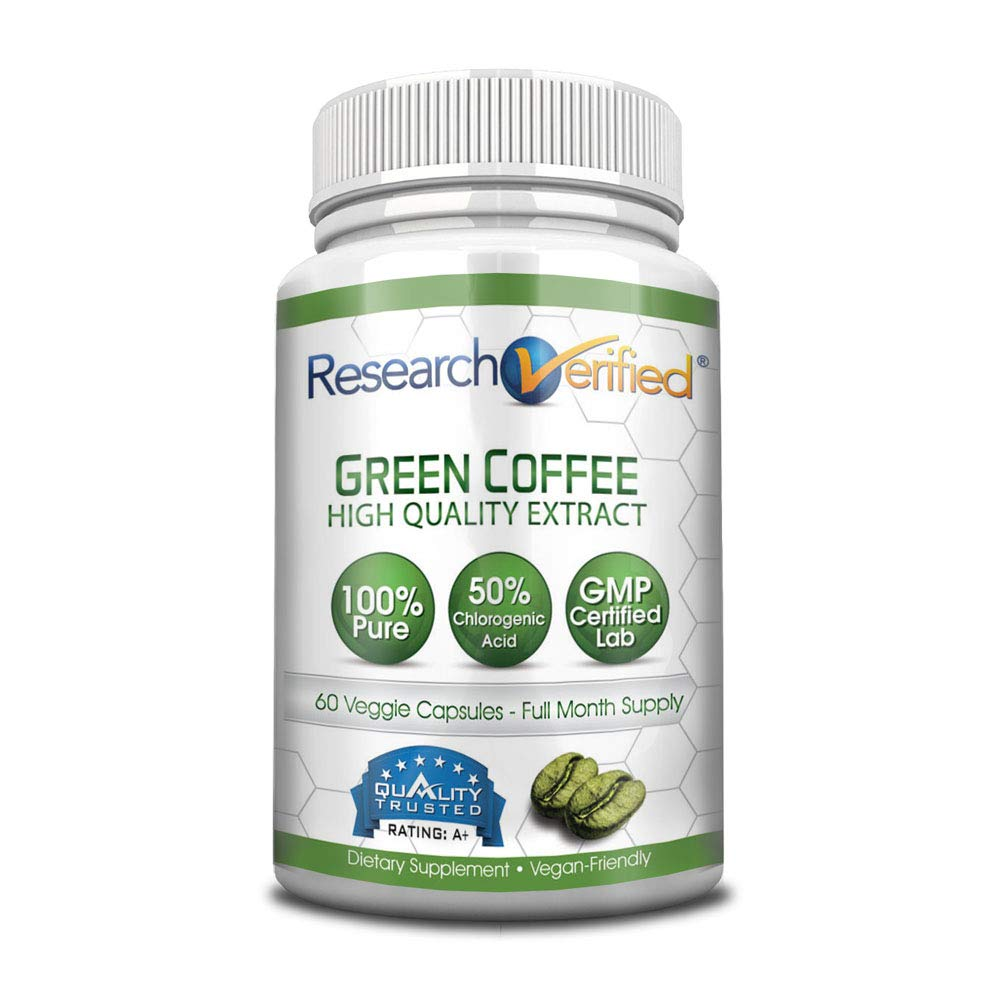 Green Coffee Bean Extract - One Month Supply - 100% Pure by Research Verified - 50% Chlorogenic Acid - 365 Day 100% Money Back Guarantee - Try Risk Free for Fast and Easy Weight Loss by Research Verified