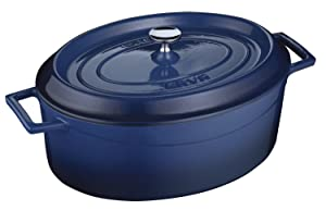 Lava Signature Enameled Cast-Iron Oval Dutch Oven - 5 Quart,Cobalt Blue