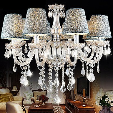 (MICHEN 8-Light Pendant Light Uplight Chrome Crystal Fabric Crystal 110-120V / 220-240V Bulb Not Included / E12 / E14)