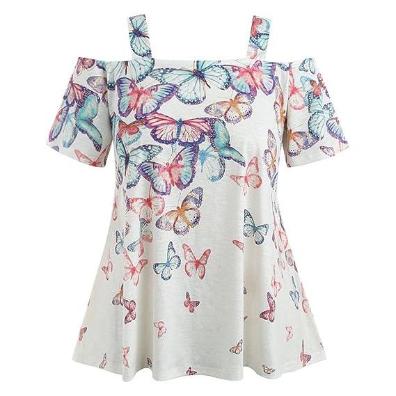 Blusas Para Mujer Rawdah Blusa Abierta Mujer Hombro Talla Grande Camiseta De Mariposa Blusa De Tirantes