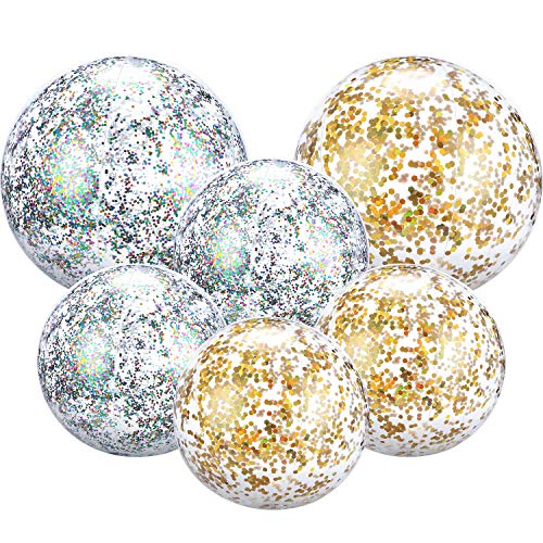 Gejoy 6 Pieces Glitter Beach Ball Gold Confetti Beach Ball Inflatable Beach Ball for Summer Beach, Pool and Party Favor, 4 Pieces 16 Inch and 2 Pieces 24 Inch