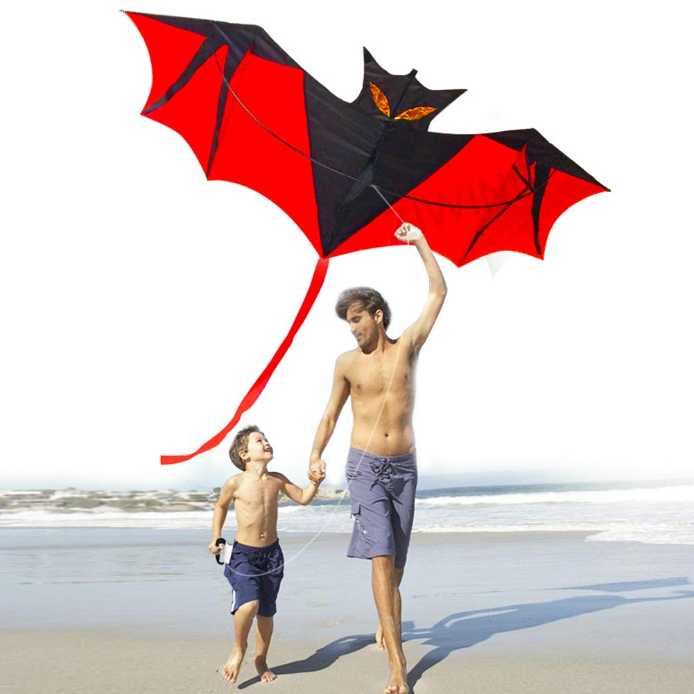 2a39f01bc Kites for Kids Adults,Kite Kites Large Bat for The Beach Park Outdoor Easy  Fly 3D Animal Bat Dragon Rainbow Colorful Kite Easy to Assemble Best  Quality 100% ...